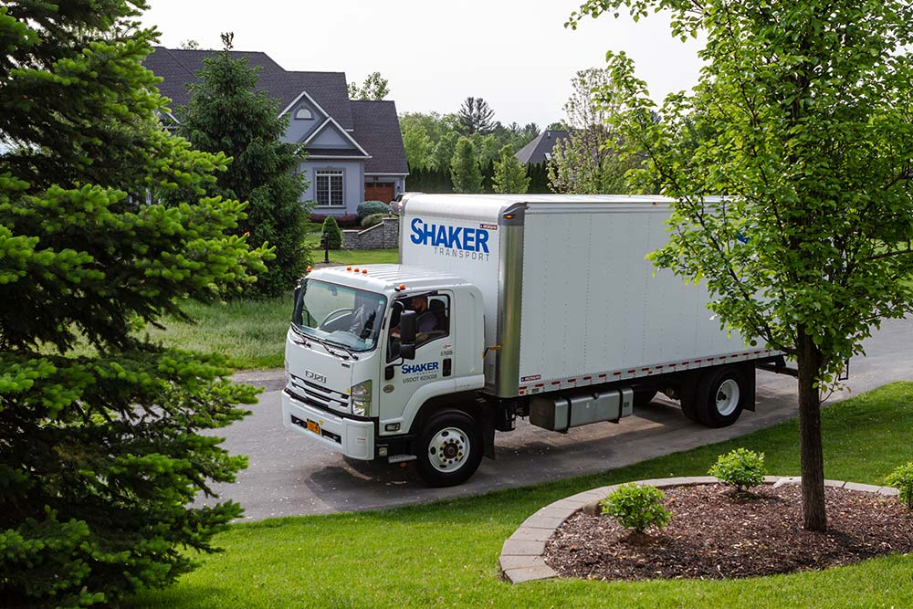 Delivery truck in residential neighborhood