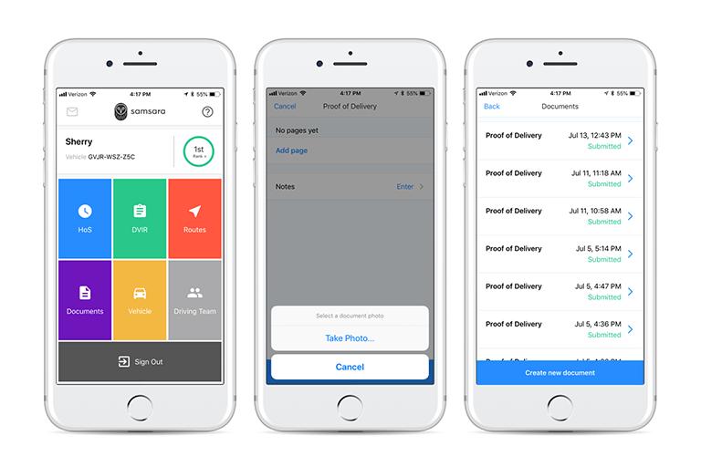 iOS app Samsara screens